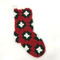 """Vintage Christmas Stocking Granny Square Crochet Knit Sock Red Green 12"""" x 5"""""""