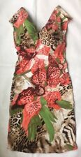 Roberto Cavalli Sexy Leopard And Orchids Print Dress Gold Accents IT40 US 6