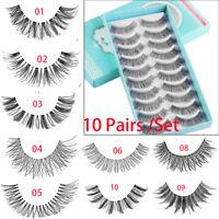 Handmade Different Style Makeup Long Thick False Eyelashes 10 Pairs Eye Lashes~