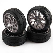 4pcs Grey Y Shape Aluminum Alloy Wheel Rims & Arrow Pattern Tires RC 1/10 Car