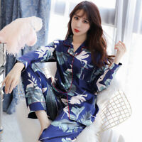 Womens/Ladies Long Sleeve Satin Print Pyjamas Pyjama PJ Oversize Silk Nightwear