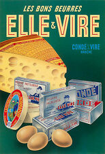 Art ELLE and VIRE Dairy Food cheese eggs Butter  Kitchen  Deco Poster Print