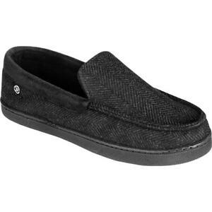 Isotoner Mens Black Memory Foam Slide Slip-On Slippers Shoes 11-12 XXL BHFO 1749