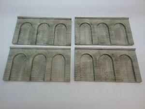 4 Mauerplatten mit Rundbögen H0/TT - grau patiniert