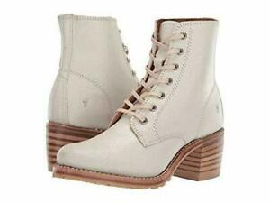 NWB Frye Sabrina 6G Lace Up Boots Leather Combat  Off-White Bone Size 9.5
