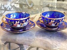 2  VTG  MURANO COBALT BLUE GLASS TEACUPS/SAUCERS PAINTED VICTORIAN FIGURES ITALY