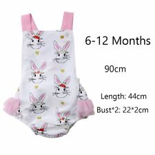 48687ceb1d5e Baby Girls Easter Bunny Print Backless Ruffle Bodysuit Romper Outfit Clothes  6-12 Months