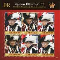 Grenada Royalty Stamps 2015 MNH Queen Elizabeth II Longest Reign Monarch 6v M/S