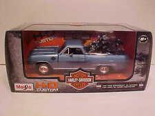 1965 Chevy El Camino Die-cast Truck 1:25 Maisto 8 inch Blue Harley Davidson 1/24