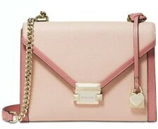 New Michael Kors Whitney bicolor leather small shoulder bag soft pink gold chain