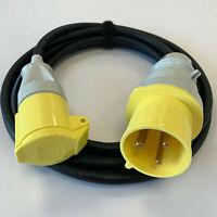 32amp Plug - 16a Socket Yellow 110v H07RN-F Jumper Adaptor Generator Site Lead