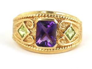 Vintage 14k Gold 2.28cttw Emerald Cut Amethyst & Princess Cut Peridot Ring s 7