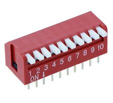 10-Way Piano DIP DIL Red PCB Switch