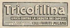 W3430 TRICOFILINA contro la caduta dei capelli - Pubblicità 1928 - Advertising