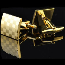Classical New Golden Square Silver Wedding Party Gift Men's Cufflinks Cuff Links