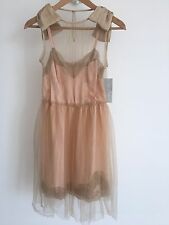 Rodarte X Target Collaboration Satin Tulle Bow Skater Dress  Nude S Rare Prom