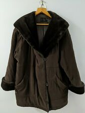 GALLERY WOMAN Size 1X Brown winter Coat Faux Fur Collar & Cuffs button Front EUC