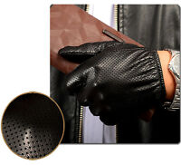 New Men's Genuine Leather Touchscreen Driving Gloves Silk Lining(PALM; 21-24cm)