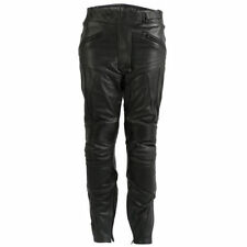 Pantaloni neri in pelle bovina per motociclista Donna