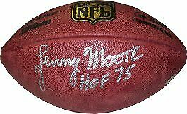 Lenny Moore signed Official NFL New Duke Football  w/ HOF 75- JSA HOLO #DD39366