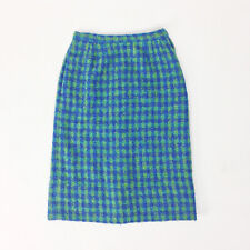 Vintage Early 60s Mod Wool Pencil Skirt Checkerboard High Waisted Mohair Xs 0 2
