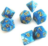 RPG Würfel Set 7-teilig Poly Tabletop DnD Blau dice4friends w4-w20 Rollenspiel