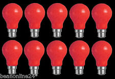 10 Pack RED Coloured Bayonet Party / Festoon Light Globes 25W B22