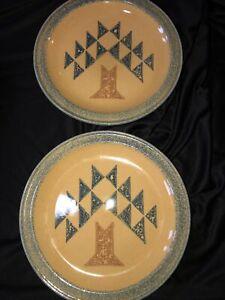 Set Of 2 Pfaltzgraff MAFA America Quilt Block Dinner Plates Tree Pattern New!