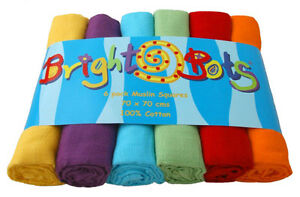 Bright Bots 6PK Baby Muslin Squares Cloths 70cm 100% Pure Soft Cotton Unisex Mix