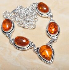 "Handmade Baltic Faux Amber Gemstone 925 Sterling Silver Necklace 20.5"" #N00354"