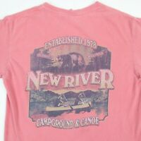 Comfort Colors New River Campground & Canoe T-Shirt S Faded Pink Distressed Soft