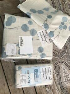 Pottery Barn kimi graph  Floral Print Organic  Duvet Full  2 Euro shams New