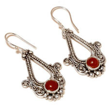 Cabochon Carnelian Round Gemstone silver plated Handmade Bezel Set Drop Earrings