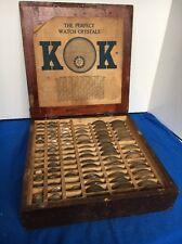 Vintage Watchmaker Box Full of KK Watch Crystals Wrist Pocket