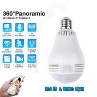 360° HD Wifi Bulb IP Hidden Camera Panoramic Home Security Spy Cam Lamp Cam Mini