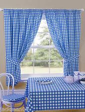 cuadros vichy azul blanco Cortinas de cocina PRECIO A Transparente