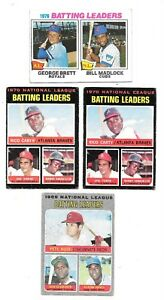 Batting Leaders Lot of 4~ROSE~CLEMENTE~TORRE~BRETT~1969-70-76~Topps 1-61-62