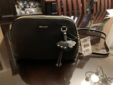 Nine West NEW Black Gold Marea Mini Faux Leather Crossbody Bag $69