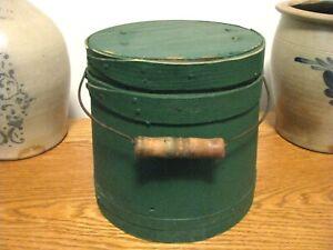 "Primitive Antique Green Painted Firkin Sugar Bucket Bail Handle 7.5"" Tall"