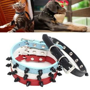 Puppy collar Rivet Spiked Studded small pet dog leather cat Necklace Choker