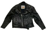 EXCELLED MEN'S BLACK LEATHER BIKER MOTORCYCLE JACKET SIZE 44 Heavy