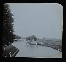 c1890s Magic Lantern Slide Photo View On The River Thames Days Lock