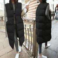 New Womens Down cotton Quilted Puffer Student Coat Jacket long Vest Sleeveless