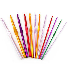 12 Multi Coloured Aluminium Crochet Needles Hooks 2mm-8mm Set Knitting Stitches