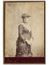 YOUNG LADY BEAUTIFUL HAT + DRESS BY MARTON, BLOOMINGTON, ILLINOIS, CABINET PHOTO