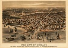 """36"""" VINTAGE ART PRINT: The City of Chicago, 1872 POSTER"""