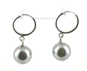 1 Pair Spring Clip On Faux Pearl Dangle EARRINGS White,Off White,Black,Gold