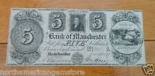1837 FIVE Dollars($5) New York Obsolete Banknote - The Bank of Manchester