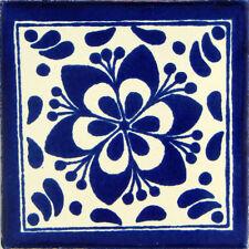 "100 Handmade Ceramic Mexican Tile Folk Art 4x4"" C192"