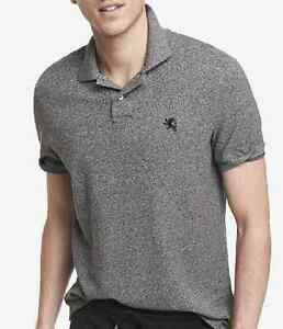 NWT【 M 】Express Men's Modern Fit Marled Small Lion Logo Pique Polo Shirt